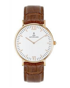 Kapten & Son Leather Brown Croco Campina 36mm Rose gold White
